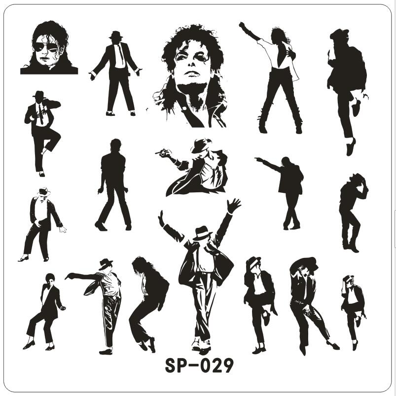 Michael Bigger Dancer Ny Stämpling Nail Art Kit Mall Image Plate 6cm Stencil Manicure Tools