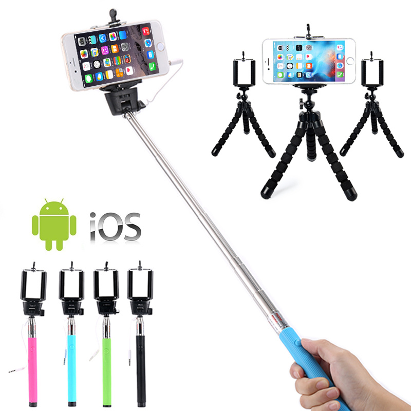 Digital Selfie Stick+ Octopus Tripod+ Clip Mount Holder Quality Selfie Set for Photo Shoot, Flexible Tripod Digital Camera Stand 1 4 camera selfie rod cell phone holder clip set red silver