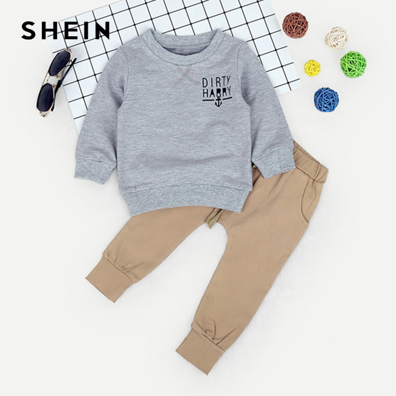 SHEIN Kiddie Toddler Boys Anchor And Letter Print Sweatshirt With Elastic Waist Pants 2019 Spring Long Sleeve Casual Suit Sets feather print sweatshirt