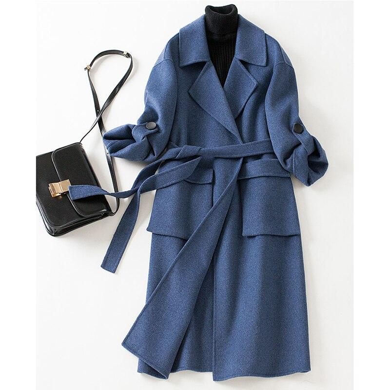 Manteau en laine femmes 2019 hiver veste femmes pur cachemire couleur unie laine manteau femmes cachemire trench élégant long pardessus