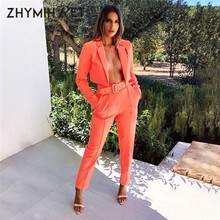 ZHYMIHRET Autumn Neon Color Blazer And Pants Women Suits Long Sleeve Jacket Trousers Office Work Women Suits Office Lady Sets(China)