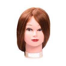 лучшая цена Profession Mannequin Head With 22inch 70% Human Hair Cosmetology Mannequin Manikin Training Head Model