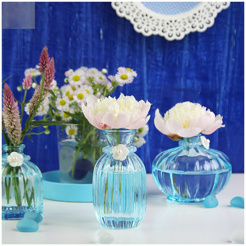 Hot sale simple round crystal flower vase hydroponic for Exquisite home decor