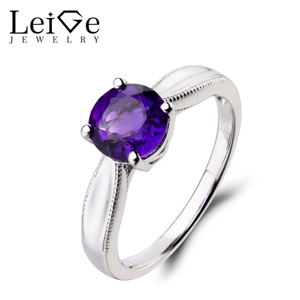 Leige Jewelry Natural Amethyst Ring Wedding Ring 925 Sterling Silver Ring February Birthstone Round Cut Gemstone Solitaire Ring leige jewelry solitaire ring natural green amethyst ring round cut wedding ring gemstone 925 sterling silver ring gift for women
