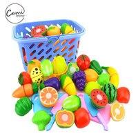 23 pçs/set Segurança Plástico Brinquedos De Cozinha Cozinha Fruta Vegetal Brinquedo Crianças Pretend Play Toy Educacional de Corte Cozinheiro Cosplay