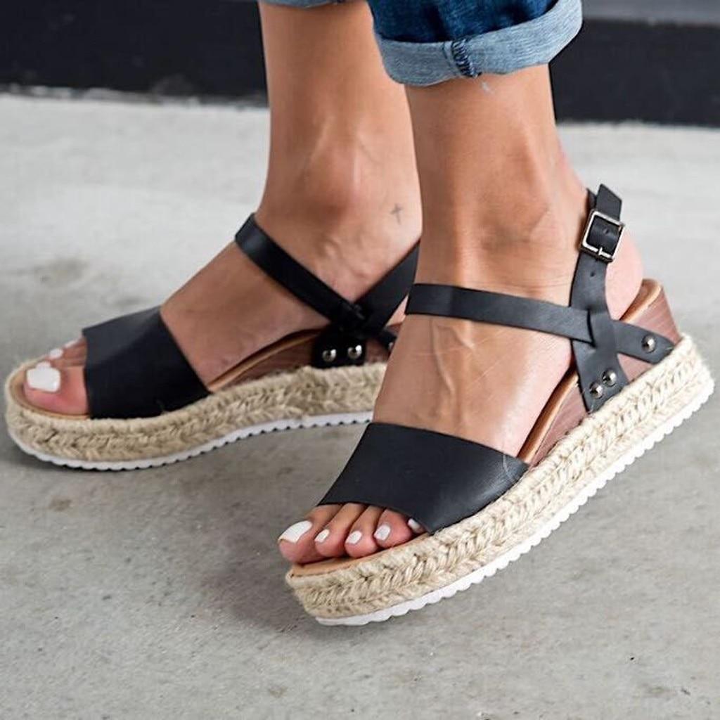 SAGACE Women's Sandals Buckle-Strap Wedges Platform Beach-Shoes Peep-Toe Fashion Summer