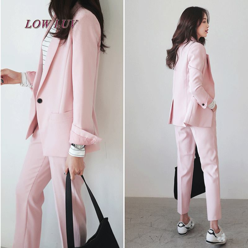Ladies new casual fall work white long sleeves suit two pieces / set lady casual suit pink high quality woman suit 2 pieces set army green long sleeve suede blazer suit set casual vintage two pieces set women suits