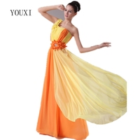2017 New Design Yellow And Orange Chiffon A Line Long Prom Dresses With Flowers Fancy Formal