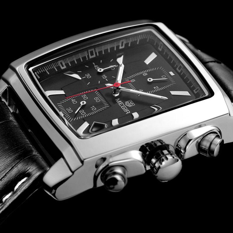 Prix pour Nouveau MEGIR Splendide Marque Montre Rectangle Auto Date Chronographe En Cuir Hommes Bracelet À Quartz Montres Sport Quartz Armée Horloge Mâle
