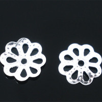 200Pcs Hollow Silver Plated Flowers Charms End Beads Caps Jewelry Making 7mm