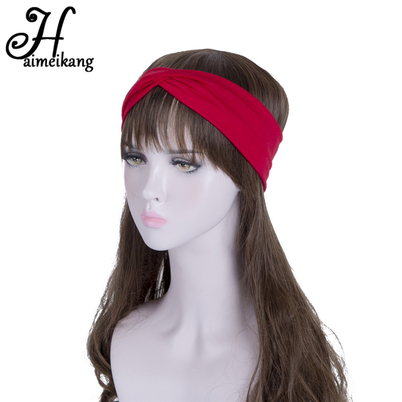 Haimeikang Elastic Bandanas Headbands For Women Hair Band Headband Headwear Straps Cross Turban Hairbands Hair Accessories gorgeous faux feather elastic hair band for women