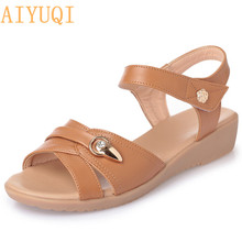 AIYUQI Female sandals flat 2019 summer new open toe casual Roman sandals female large size 41 42 43 mother sandals women shoes ceyaneao women s shoes flat sandals genuine leather women s sandals flat casual open toe bohemian sandals female summer shoe