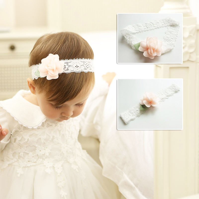 Little Girls Chiffon Flower Headband Kids Bowknot Hairbands Lace Wrap Elastic Hair Bands Hair Accessories Bandeau bebe bebe girls flower headband four felt rose flowers head band elastic hairbands rainbow headwear hair accessories