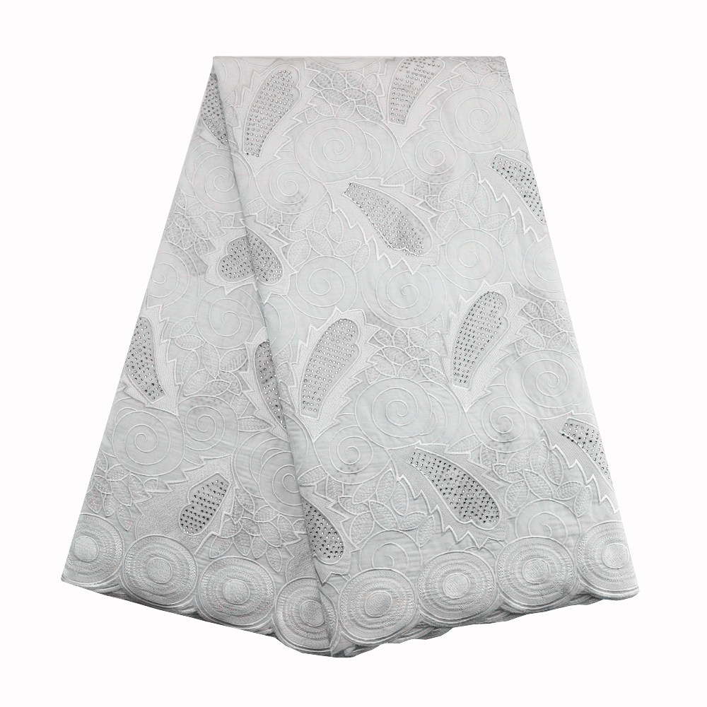 Encaje africano gasa suiza de alta calidad venta al por mayor 100% de gasa de algodón tejidos 054 blanco de gasa vestido de boda-in encaje from Hogar y Mascotas    1