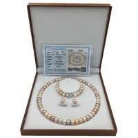 Sinya Natürliche Perle Schmuck set mit 10-11mm 18 zoll bunte perlen Strang halskette armband und ohrring für frauen hohe glanz