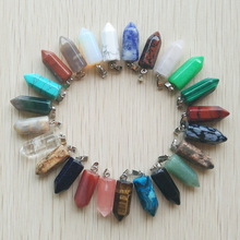 50pcs/lot Wholesale fashion bestselling good quality natural stone mix point pillar pendants for jewelry making free shipping