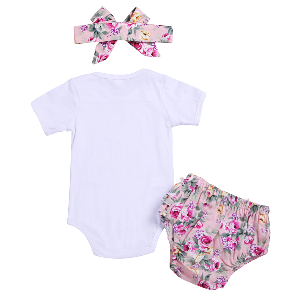 Newborn summer clothing Baby girl clothes 1 Year Birthday Dress infant girls Romper pant headband set Baptism Christening outfit in Bodysuits from Mother Kids
