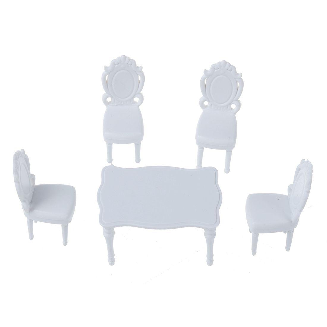5 шт. 1:25 пейзажей внутренняя модель Обеденная комплект стол W/4 стулья --- белый