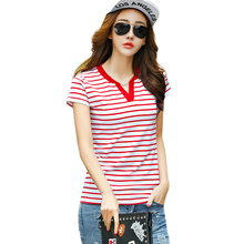 T Shirt Women Summer Clothes 2017 Striped Tshirt V Neck Sexy Tops Womens Clothing T-Shirts Cotton Casual Tee Shirt Femme Mujer