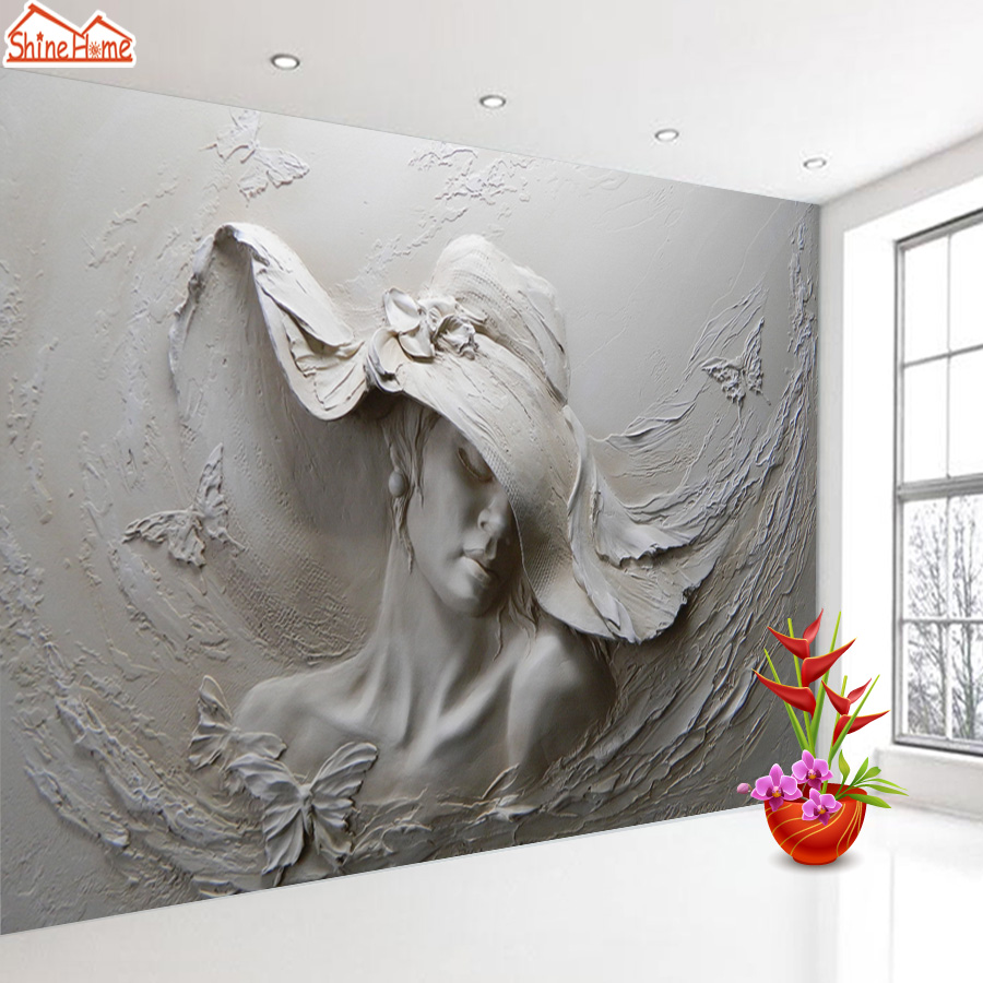 3d Photo Wallpaper Embossed Murals  Wallpapers For Living Room Bedside Wall Paper Characters Woman Sculpture European Gray Rolls