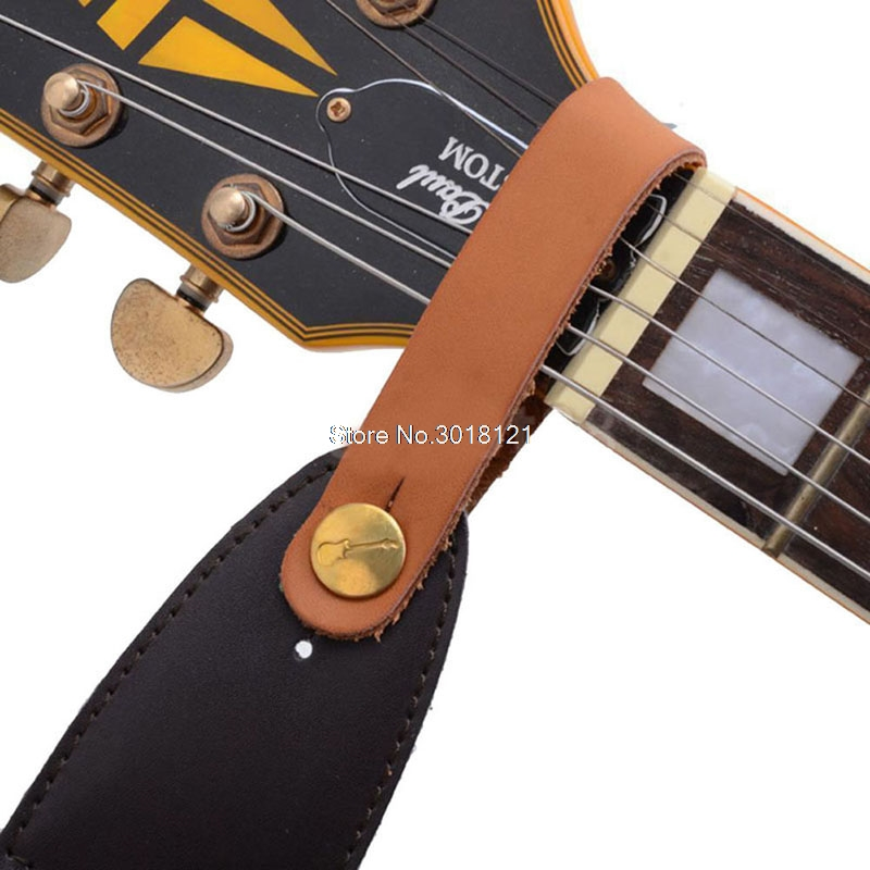Guitar Straps Faux Leather Strap Hook Button For Acoustic / Folk / Classic Guitar Durable Red Guitars Basses Parts Acces