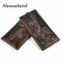 Free Shipping Vintage Style Men's Bifold Soft Genuine Leather Long Wallet Card Holder Money Purse ID Credit Card Holder,Dragon