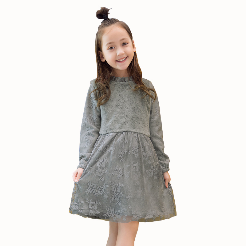 Autumn Winter Girls Dress 2018 Casual Long Sleeves LaceMesh Kids Thick Dresses for Girl Clothing Cute Party Princess Dress spring winter girls dress 2018 casual long sleeves lace mesh patchwork kids dresses for girl new year clothing princess dress