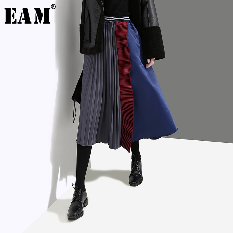 [EAM] 2020 New Spring Summer Hgh Elastic Waist Black Hit Color Irregular Pleated Ruffles Half-body Skirt Women Fashion JL107