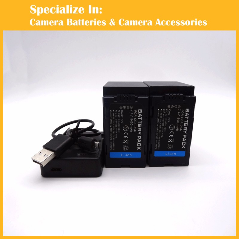 High capacity camcorder 2pcs battery + charger CGR-D54 CGA-D54S VW-VBD55 CGR D54 for AG-DVC60 AG-DVX100 AG-DVC30 AG-DVX100A 1pcs cga s006e cgrs006a cgr s006e cgr s006a 1b bp dc5u rechargeable camera li ion battery for panasonic bp dc5 e