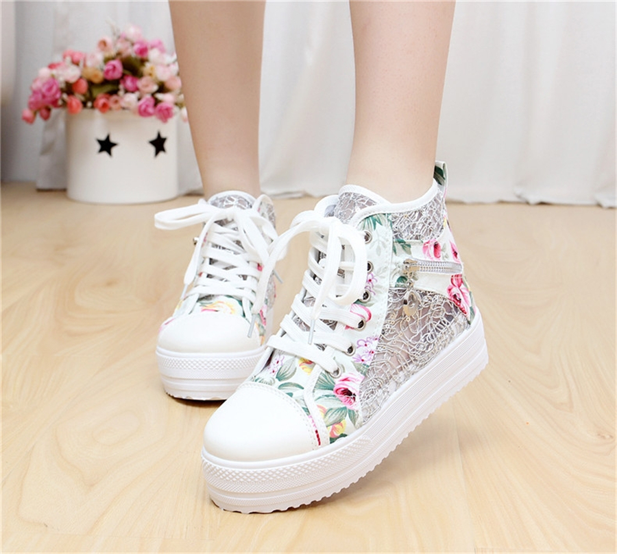 2017 Summer Women Shoes Casual Cutouts Lace Up Canvas Colour Shoes Hollow Floral Breathable Platform Flat Shoe High Top Zipper dreamshining summer women shoes casual cutouts lace canvas shoes hollow floral breathable platform flat shoe sapato feminino