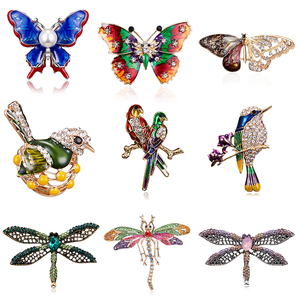 Butterfly Bird Enamel Brooches Women Fashion Metal Insects Wedding Party Banquet Brooch Pins Wedding Bride Jewelry Best Gift(China)