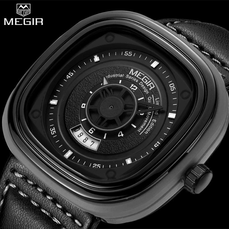Prix pour MEGIR Hommes de Mode Carré Montres Sport Noir Hommes Horloge À Quartz Homme Militaire de L'armée En Cuir Montre-Bracelet Relogio Masculino