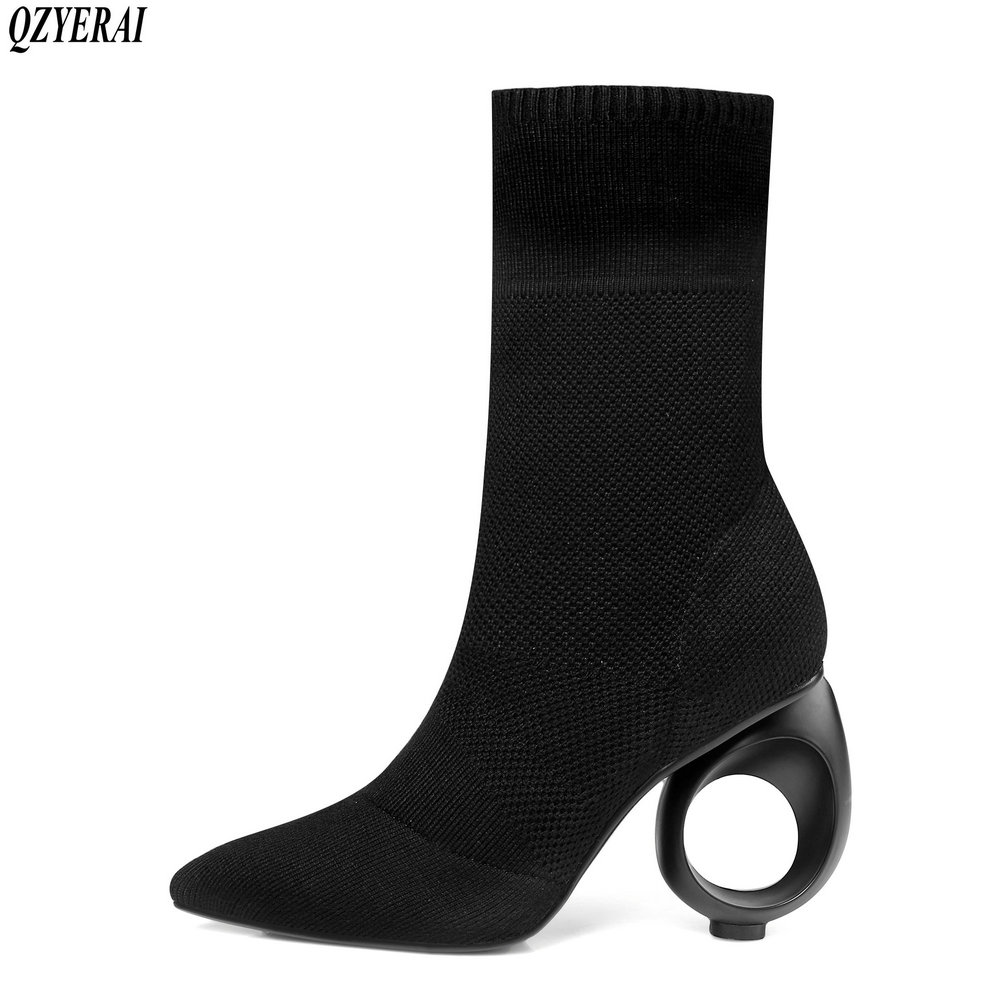 QZYERAI 2018 Spring and autumn new fashion stretch female boots pointed socks female boots shaped heels large sizes 34-43