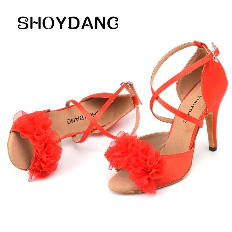 SHOYDANC New Brand Latin Dance Shoes Women Ladys Ballroom Dance Shoes Red Silk Flower Salsa Shoes Dancing Dance Sandals