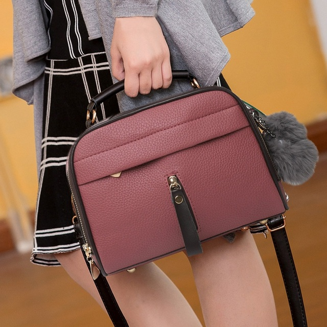 Stylish Women Handbag PU Leather Cute Mini Messenger Shoulder Bags With Ball Toy Bolsa Feminine Female Party Shopping Handbags 4