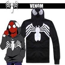 Hero Catcher  Cotton Venom Hoodie Black Spiderman Hoodie Venom Jacket Black Spiderman Jacket With Hood