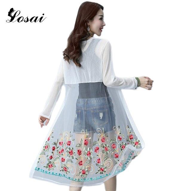 XXXL Kimono Thin Sunprotection Chiffon Cardigan Women Embroidery ...
