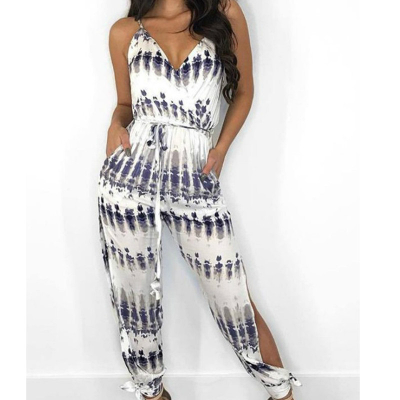 Women's Clubwear Summer Casual Loose Jumpsuit Romper Sleeveless  Splited Sexy Club Overalls