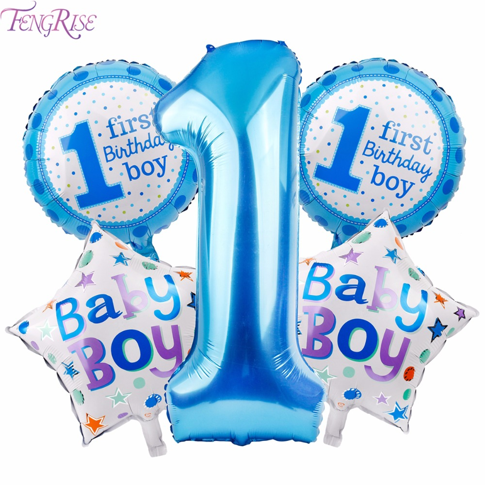 FENGRISE 5pcs Baby 1st Birthday Balloons Blue Pink Foil