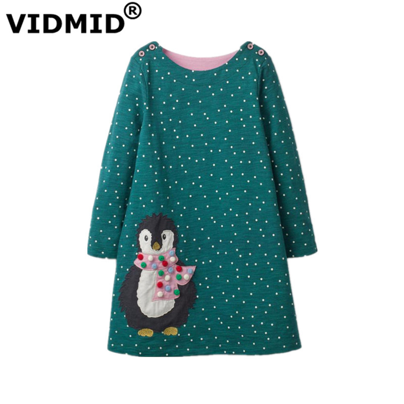 все цены на VIDMID new Girls Dress Applique Long Sleeve Princess Dress Children rabbit Costume Kids Party Dresses Baby Girls Clothes penguin