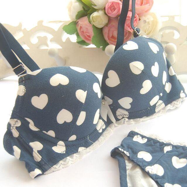 Sexy Heart charcoal push up underwear bra set