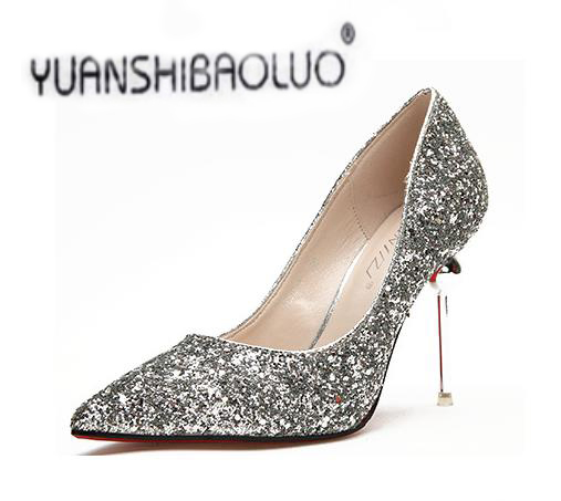 100% New Hot Selling High Quality Fashion Womens Shoes Sequins Gold Silver Pointed High-heeled Shoes New Fine Documentary Shoes