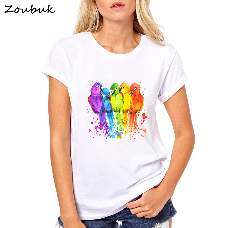 Women T shirt colorful birds rainbow tshirt fashion watercolor birds art work clothes comfortable femme top tee