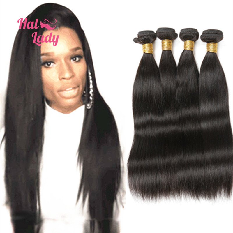 Halo Lady Hair 7A Brazilian Straight Human Hair Weaves 8- 40 inches Brazilian Virgin Hair Straight 4 Bundles Lot Malibu Dollface