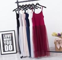 Modal Spaghetti Strap Patchwork Mesh Gauze Organze Lace Tank Dress Basic Sundress
