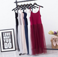 Modal spaghetti strap patchwork mesh gauze organze  lace tank dress basic  sundress