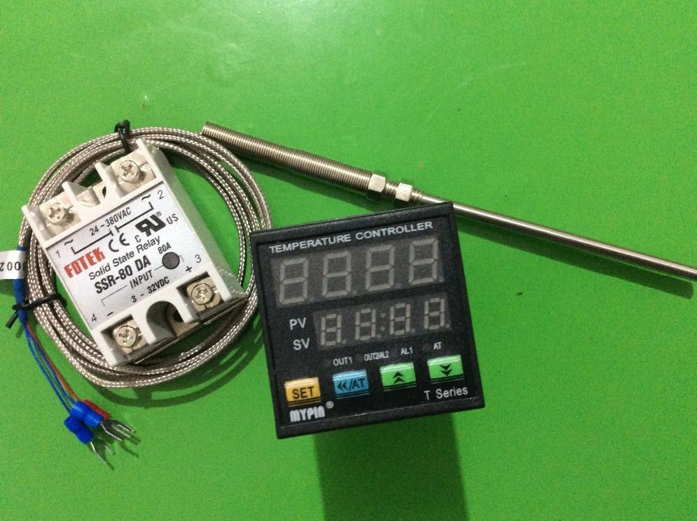 PT100 MYPIN  Digital F//C PID Thermostat Temperature Controller TA4-SSR 80A SSR