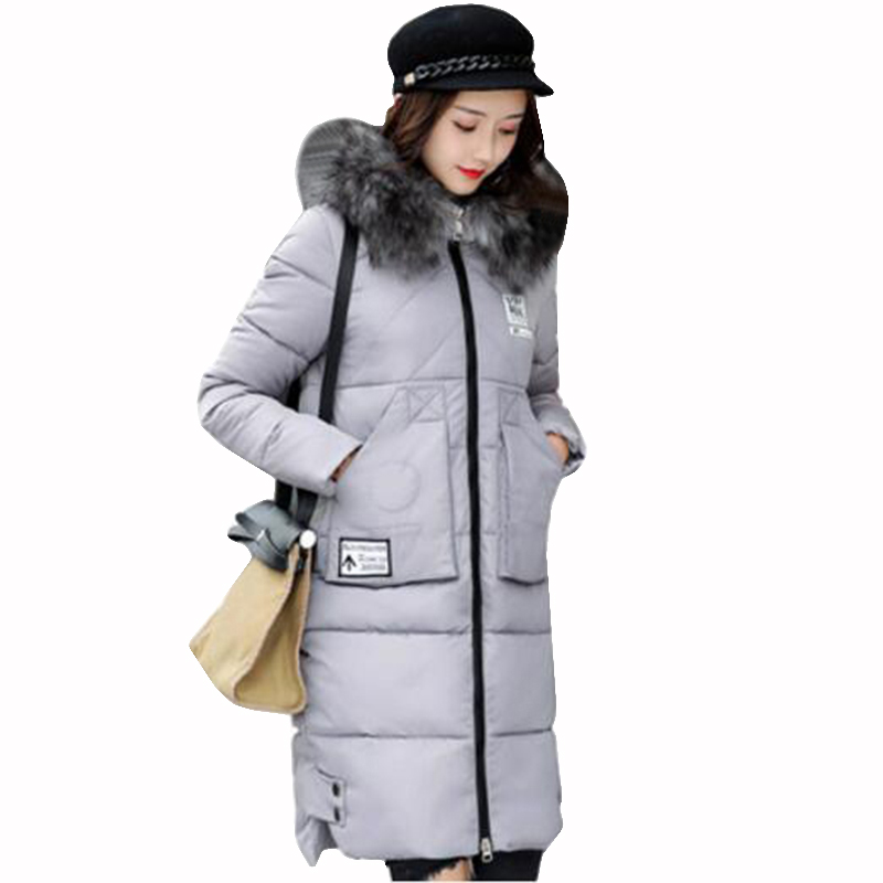Women winter parka jacket long thicker cotton padded coat plus size winter hooded big fur collar warm parka fashion outerwear fenghua 2017 long warm winter coat women jacket fur collar hooded thick women parka fashion brand womens cotton padded outerwear