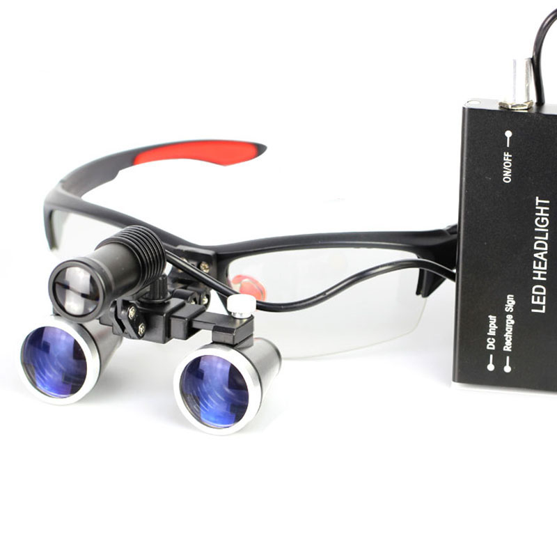 High Dental Lab Dentist Pro Surgical Medical Binocular Eye Loupe Glasses 2.5x/3.5x Amplification Magnifier With Led Headlight