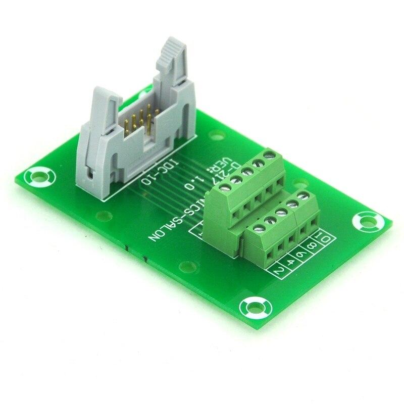"IDC10 2x5 10 Pin 0.1/"" 2.54mm Male Header Breakout Board Terminal Block Connector"
